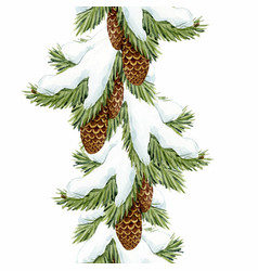 watercolor fir tree christmas pattern vector image