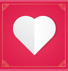 white paper cut love heart for valentines day vector image