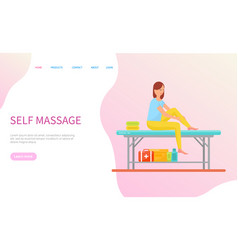 woman making self massage sitting on table vector image