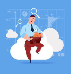 business man sitting on cloud search data in vector image vector image