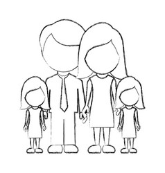 figure family their girls twins icon vector image