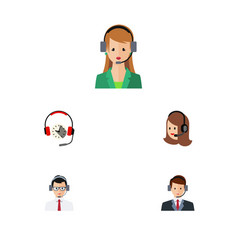flat center set of hotline service secretary and vector image vector image