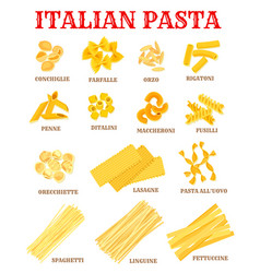 italian cuisine pasta list poster for food design vector image vector image