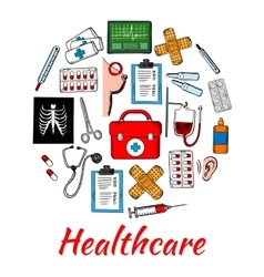 Medical and healthcare icons arranged into circle vector image vector image