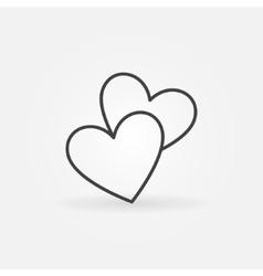Two hearts line icon vector image vector image
