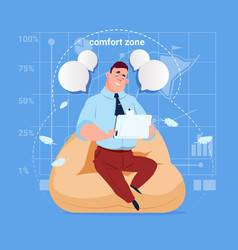 business man sit in comfort zone in office use vector image
