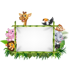 Cartoon funny african animals with blank sign vector image vector image