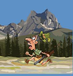 Cartoon hunter with a gun and no pants running vector