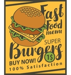 Cheeseburger on retro style vector