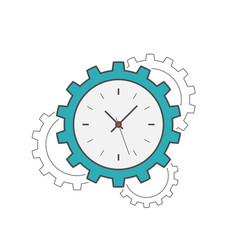 clock gear flat line icon vector image
