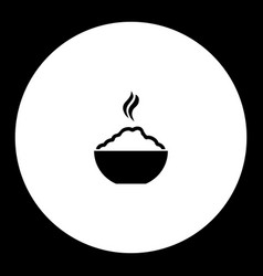 hot rice food in bowl simple black icon eps10 vector image