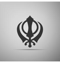 Khanda Sikh icon on grey background vector image