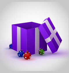 purple gift box with cristmas toy vector image vector image