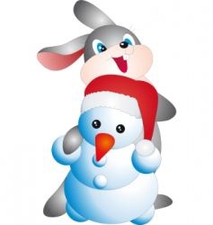 rabbit and snowman vector image vector image