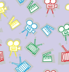 seamless movie icons vector image vector image