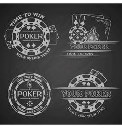 Set poker emblems on a dark background vector image