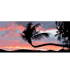 silhouette of palm trees at sunset vector image vector image