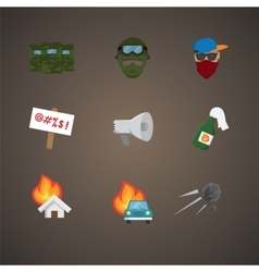 Simple set of protest related flat icons vector image
