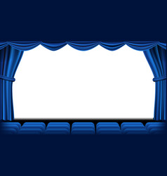 Auditorium with seating blue curtain vector