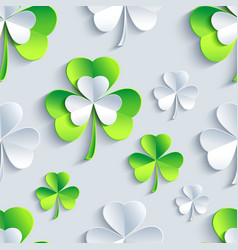 Background seamless pattern with 3d Patrick clover vector image