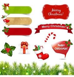 Big Christmas Icons Set With Border vector image
