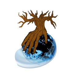 earth and hand as tree vector image vector image