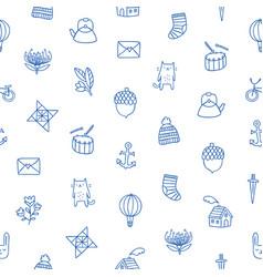 outline kids doodle pattern vector image