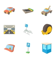 Parking transport icons set cartoon style vector image
