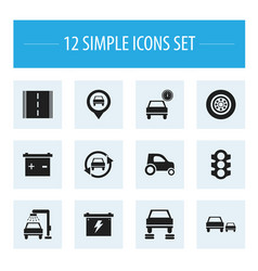set of 12 editable car icons includes symbols vector image vector image