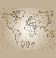 Vintage hand drawn world map and doodle pins vector