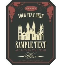 wine label with the old town vector image