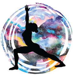 women silhouette warrior 1 yoga pose vector image vector image