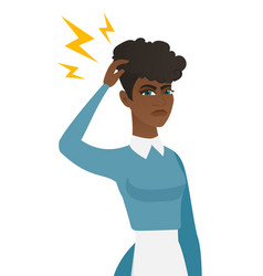 young african cleaner with lightning over head vector image vector image
