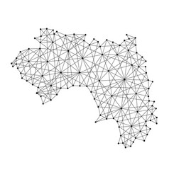 map of guinea from polygonal black lines and dots vector image vector image