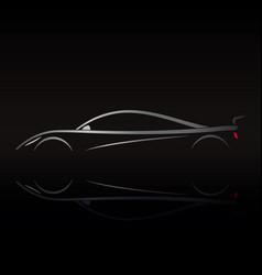 sports car logo design on black background vector image vector image