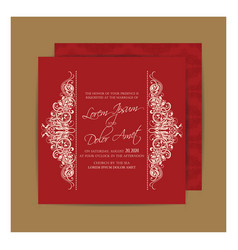 vintage red double sided wedding card vector image vector image