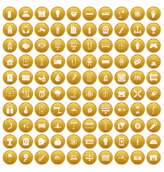 100 energy icons set gold vector