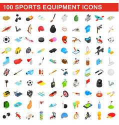 100 sports equipment icons set isometric 3d style vector