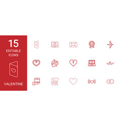 15 valentine icons vector image