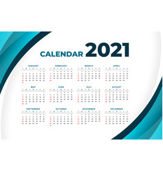 2021 modern calendar design with curve shape vector