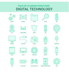 25 green digital technology icon set vector image