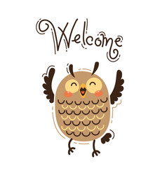 A happy owl greets welcome vector