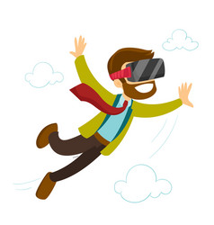 A white man in virtual reality headset flying in vector