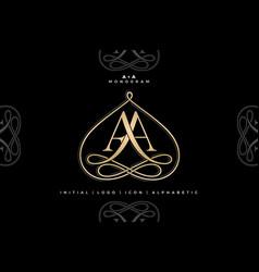 aa monogram aa initial wedding aa logo company vector image