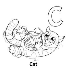 Alphabet letter c coloring page cat vector