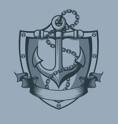 Anchor shield chain and banner tattoo style vector