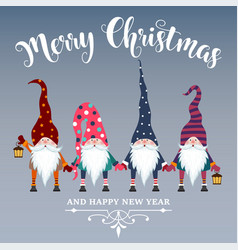 Beautiful flat design christmas card with gnomes vector