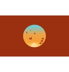 Bird and palm silhouettes landscape vector image
