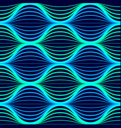 Blue neon waves seamless pattern background with vector