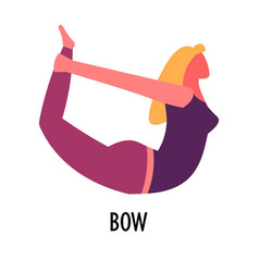 Bow asana yoga pose or exercise sport and vector